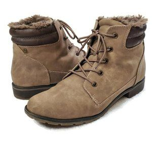 Sporto Lexi Leather Fur Lace-Up Boots, 11